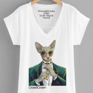 Camiseta gato gafas