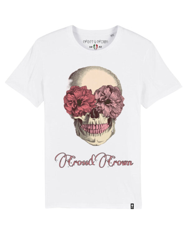 Camiseta flores y calavera